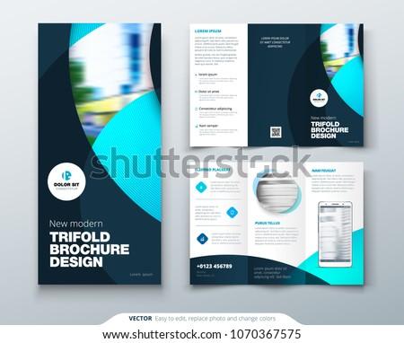 tri fold brochure design circle corporate stock vector royalty free