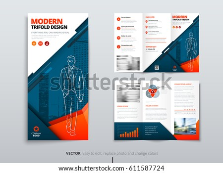 tri fold brochure design dl corporate stock vector royalty free