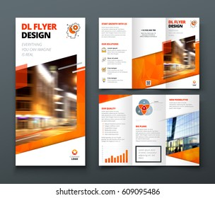 Tri fold brochure design. Orange DL Corporate business template for try fold brochure or flyer. Layout with modern elements and abstract background. Creative concept folded flyer or brochure.