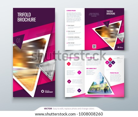 tri fold brochure design pink template stock vector royalty free