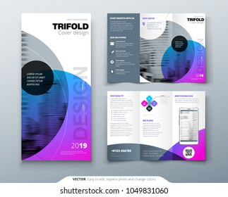 Tri fold brochure design. Purple corporate business template for tri fold flyer. Layout with modern circle photo and abstract background. Creative concept 3 folded flyer or brochure.
