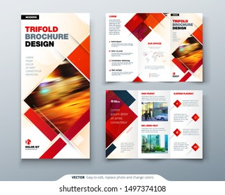 Tri fold brochure design with square shapes, corporate business template for tri fold flyer. Creative concept folded flyer or brochure.