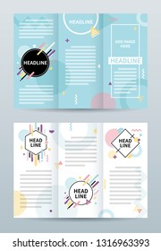 Tri fold brochure template with colorful abstract geometric background.