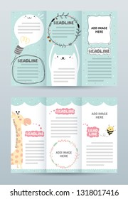 Tri fold brochure template with cute animals.