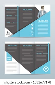 Tri fold brochure template with hand drawn business man
