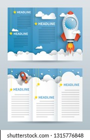 Tri fold brochure template.  Paper cut of rocket fly to the sky.