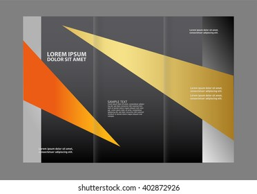 tri fold business brochure design template with abstract lines and waves for your business