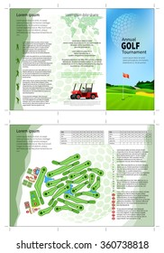 Tri fold golf brochure design. Annual golf tournament