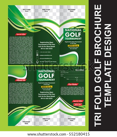 Tri Fold Golf Brochure Template Vector Stock Vector Royalty Free