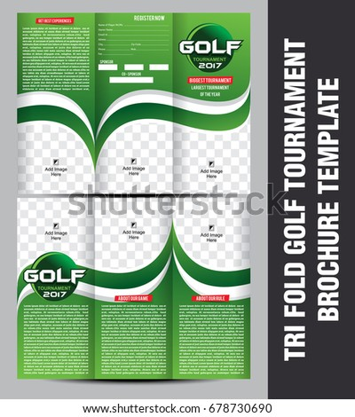 Tri Fold Golf Tournament Brochure Template Stock Vector Royalty