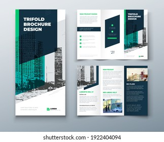 Tri fold green brochure design with square shapes, corporate business template for tri fold flyer. The template is white with a place for photos. Creative concept folded flyer or brochure.