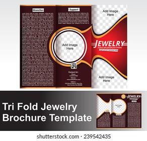 Tri Fold Jewlery Brochure Template vector illustration