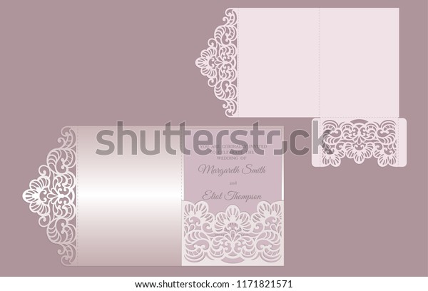 Tri Fold Laser Cut Invitation Template Stock Vector Royalty Free