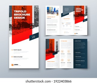 Tri fold red brochure design with square shapes, corporate business template for tri fold flyer. The template is white with a place for photos. Creative concept folded flyer or brochure.