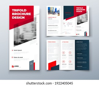 Tri fold red brochure design with square shapes, corporate business template for tri fold flyer. Template is white with a hexagon and a place for photos. Creative concept folded flyer or brochure.
