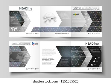 Tri fold square design brochures. Leaflet cover, abstract flat layout, easy editable vector. Colorful dark background with abstract lines. Bright color chaotic, random, me