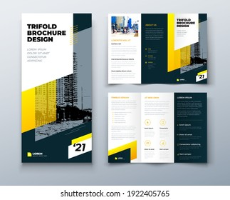Tri fold yellow brochure design with square shapes, corporate business template for tri fold flyer. Template is white with a hexagon and a place for photos. Creative concept folded flyer or brochure.