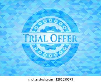 Trial Offer realistic sky blue mosaic emblem