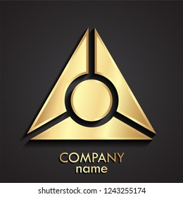 triangle 3d golden geometric logo