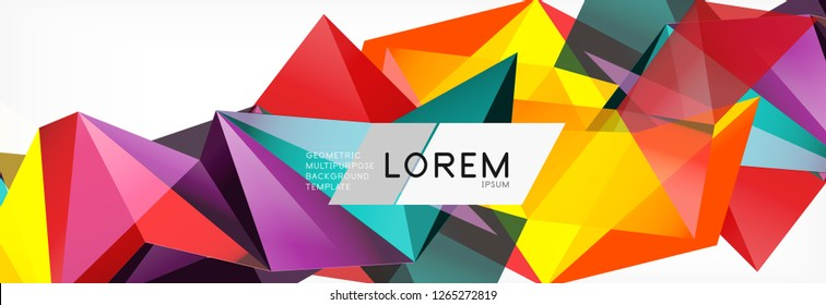 Triangle 3d polygonal art style. Future geometric design. Vector geometry futuristic decoration.