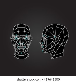Triangle abstract human face, front view. Biometric verification. Concept of 3d Face recognition. Vector illustration
