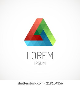 Triangle abstract logo template icon. RGB colors. Infinite loop.