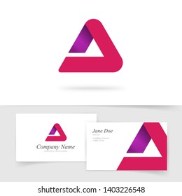 Triangle abstract vector logo, red gradient logotype isolated, modern trendy geometry elegant rounded symbol with business card template