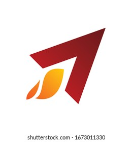 triangle arrow corner rocket fire flame logo design