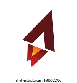 triangle arrow rocket flame logo design