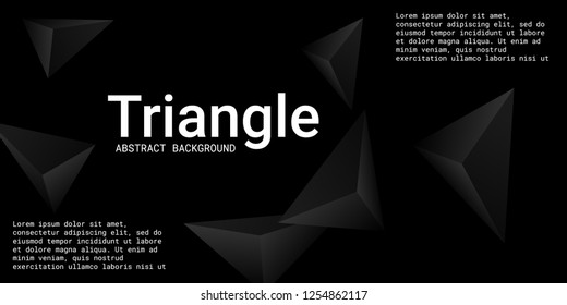 Triangle background. Abstract composition of triangular crystals. Creative geometric background.  3D vector illustration . Black  three-dimensional  triangular crystals in space.
