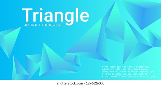 Triangle background. Abstract composition of triangular pyramids. Creative geometric background.  3D vector illustration . Blue  three-dimensional triangular pyramids in space.