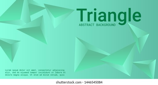 Triangle background. Abstract composition of triangular pyramids. Creative geometric background.  3D vector illustration . Green  three-dimensional triangular pyramids in space.