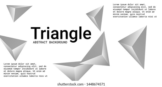 Triangle background. Abstract composition of triangular pyramids. Futuristic geometric background.  3D vector illustration . Silver  three-dimensional triangular pyramids in space.