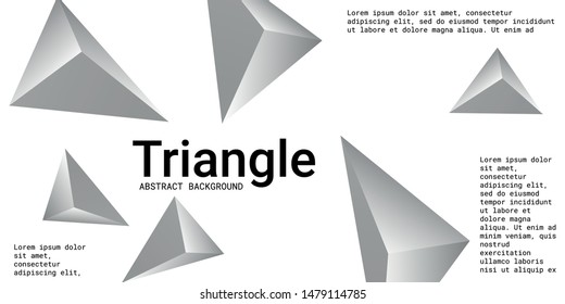 Triangle background. Abstract composition of triangular pyramids. 3D vector illustration . Futuristic geometric background.  Silver  three-dimensional triangular pyramids in space.