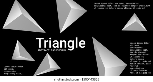 Triangle background. Abstract composition of triangular pyramids. Modern geometric background.  3D vector illustration . Metal  three-dimensional triangular pyramids in space.
