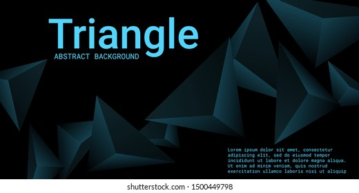 Triangle background. Abstract composition of triangular pyramids. Modern geometric background.  3D vector illustration . Turquoise  three-dimensional triangular pyramids in space.