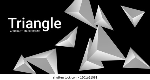 Triangle background. Abstract composition of triangular pyramids. Minimal geometric background.  3D vector illustration . Metal  three-dimensional triangular pyramids in space.