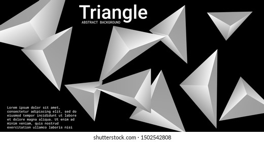 Triangle background. Abstract composition of triangular pyramids. Futuristic geometric background.  3D vector illustration . Metal  three-dimensional triangular pyramids in space.