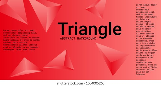 Triangle background. Abstract composition of triangular pyramids. 3D vector illustration . Modern geometric background.  Red  three-dimensional triangular pyramids in space.