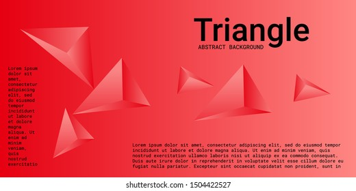 Triangle background. Abstract composition of triangular pyramids. 3D vector illustration . Creative geometric background.  Red  three-dimensional triangular pyramids in space.