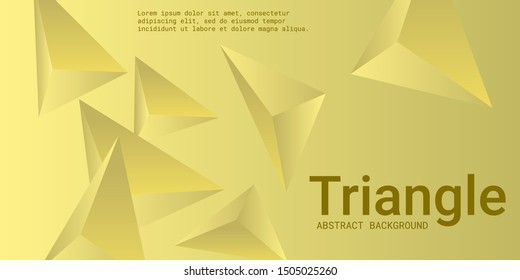 Triangle background. Abstract composition of triangular pyramids. Modern geometric background.  3D vector illustration . Yellow  three-dimensional triangular pyramids in space.