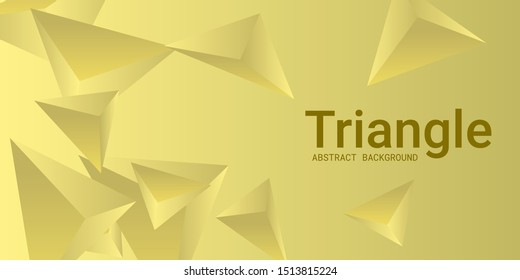 Triangle background. Abstract composition of triangular pyramids. 3D vector illustration . Creative geometric background.  Yellow  three-dimensional triangular pyramids in space.