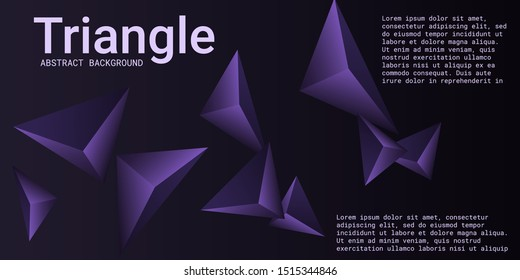 Triangle background. Abstract composition of triangular pyramids. 3D vector illustration . Futuristic geometric background.  Violet  three-dimensional triangular pyramids in space.