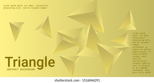 Triangle background. Abstract composition of triangular pyramids. Creative geometric background.  3D vector illustration . Yellow  three-dimensional triangular pyramids in space.