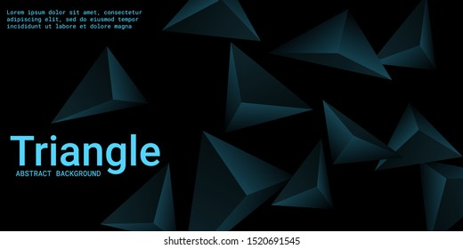 Triangle background. Abstract composition of triangular pyramids. 3D vector illustration . Modern geometric background.  Turquoise  three-dimensional triangular pyramids in space.