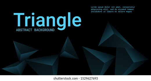 Triangle background. Abstract composition of triangular pyramids. 3D vector illustration . Minimal geometric background.  Turquoise  three-dimensional triangular pyramids in space.