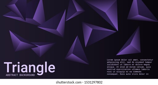 Triangle background. Abstract composition of triangular pyramids. Creative geometric background.  3D vector illustration . Violet  three-dimensional triangular pyramids in space.