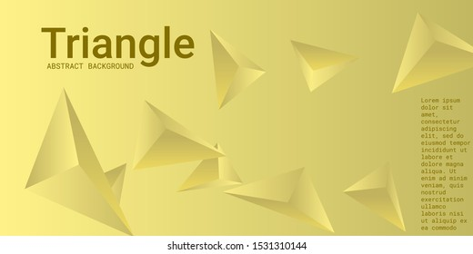 Triangle background. Abstract composition of triangular pyramids. 3D vector illustration . Futuristic geometric background.  Yellow  three-dimensional triangular pyramids in space.