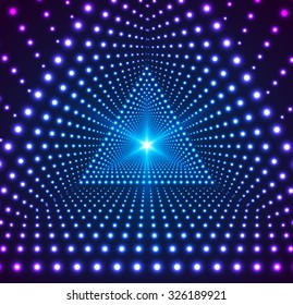 Triangle Border with Light Effects. Concept for party flyers, music posters and disco graphic design. Vector illustration.