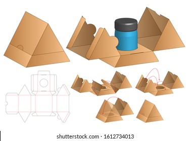 Triangle Box packaging die cut template design. 3d mock-up